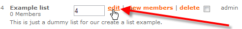 click on edit link beside example list
