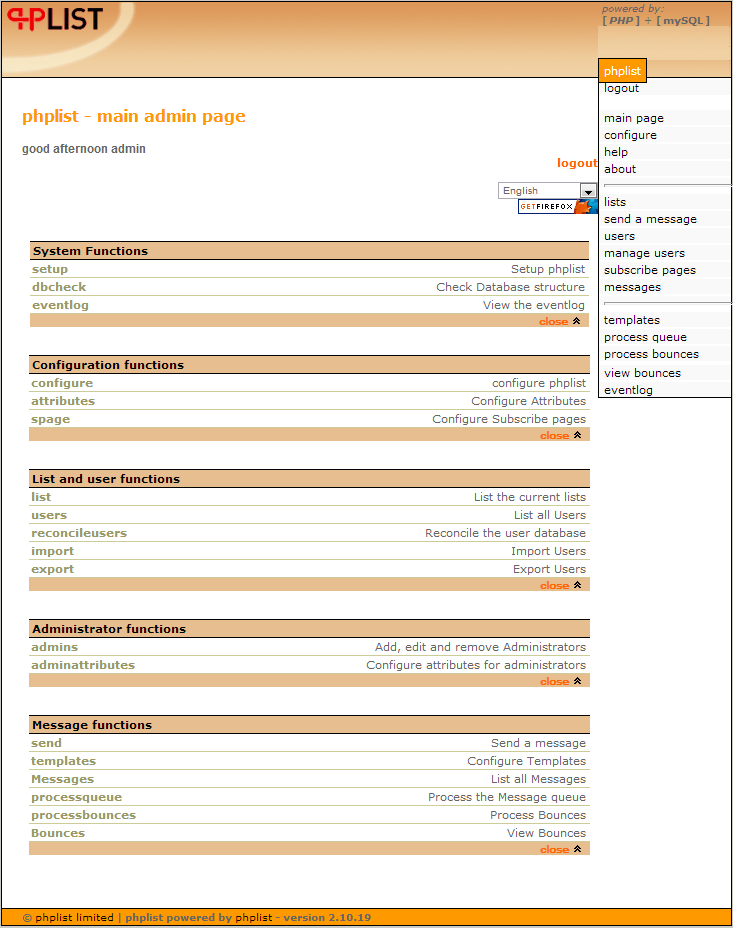 phplist admin dashboard