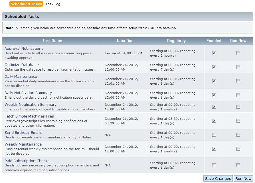 phpb scheduled task list