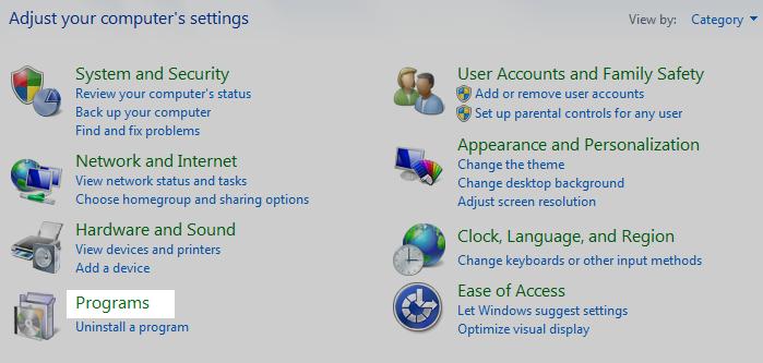 select programs category