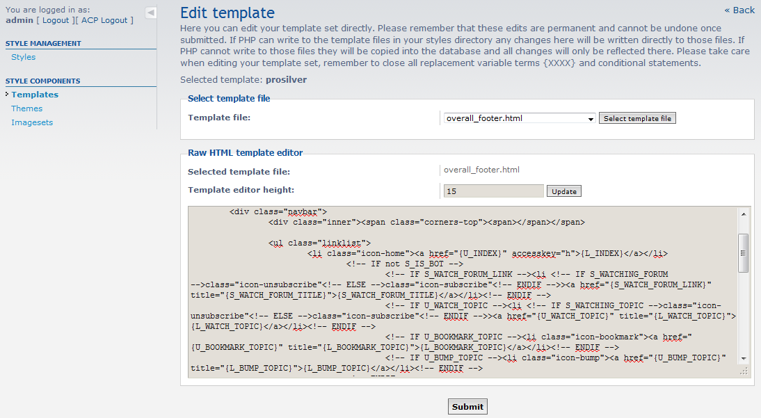 edit footer template