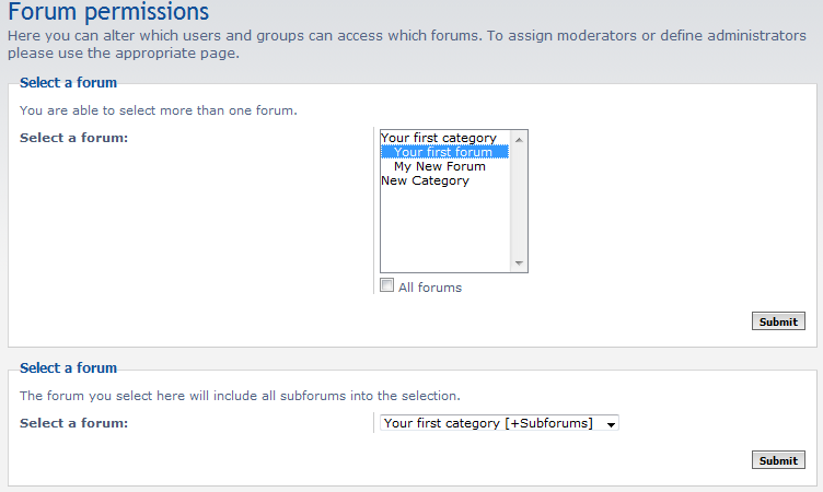 forum selection lists
