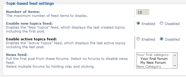 list of topic based feed settings