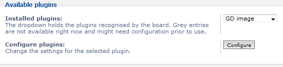 available plugins configuration settings