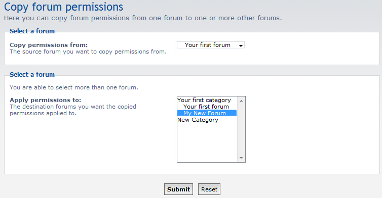 select source and target forums