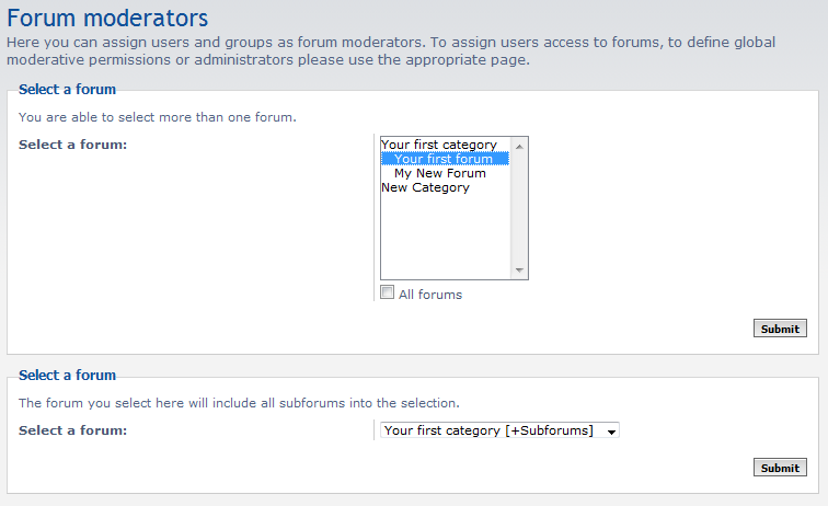 select form for adding moderators