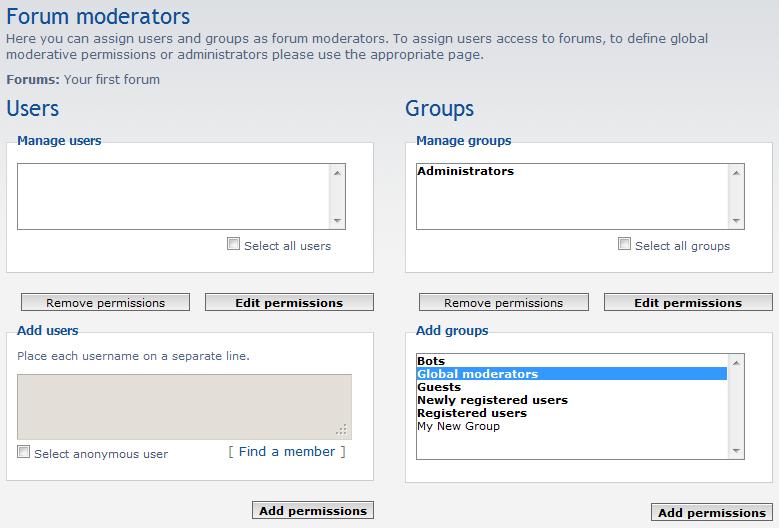 add new forum moderators