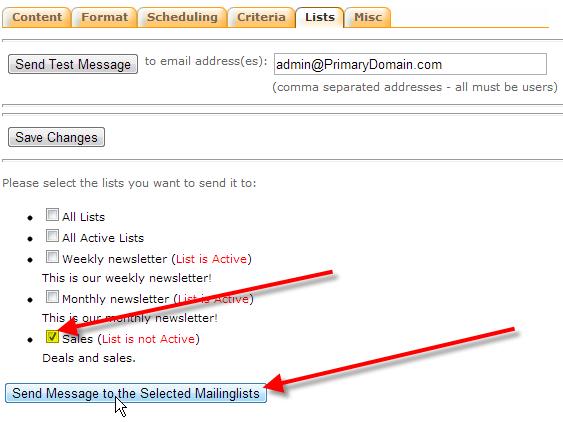 select sales list click send message