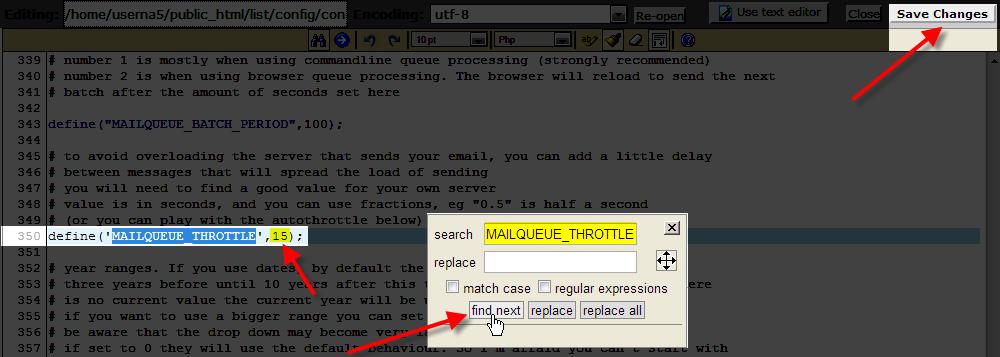 code editor done editing mailqueue throttle settings