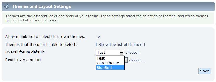 select theme dropdown