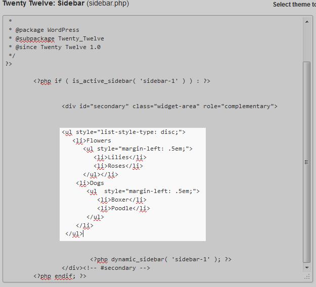 add new code to sidebar