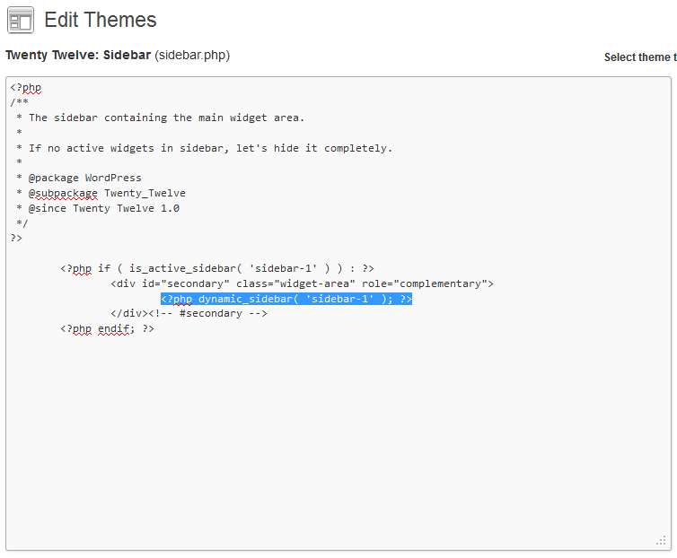 sidebar code editor