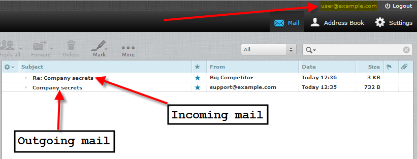 unseen deliver exim rule showing incoming and outgoing mail