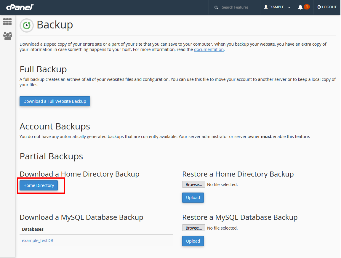 cpanel backups click on home directory
