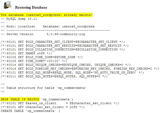 cpanel backups database backup restored