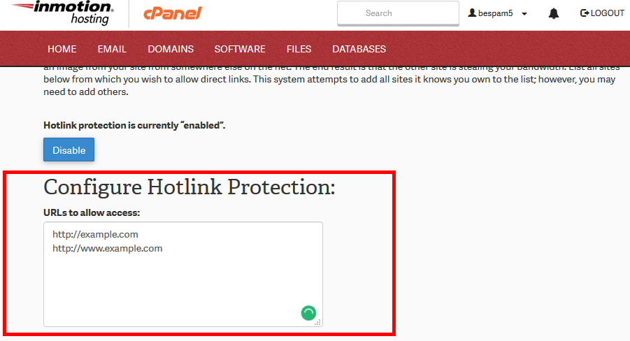 Enable hotlink protect cpanel