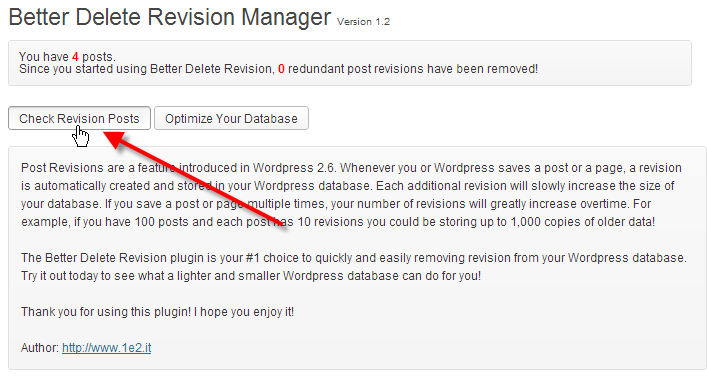 wordpress admin better delete revision click check revision posts