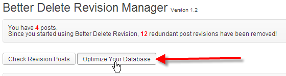 wordpress admin better delete revision click optimize your database
