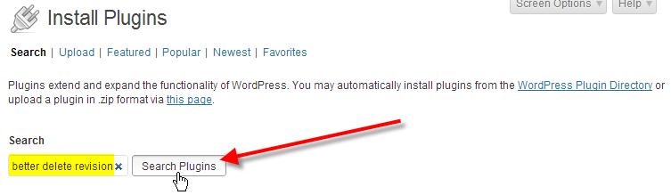 wordpress admin click on search plugins