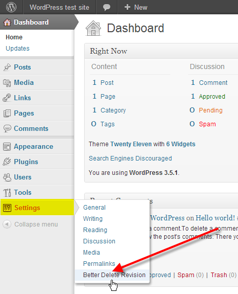 wordpress admin hover over settings click better delete revision