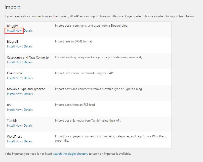 Install Blogspot plugin WordPress