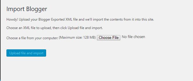 Import Blogger- choose XML file