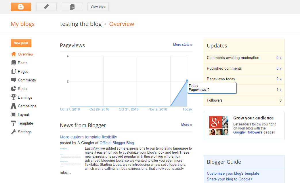 Login to your blog in Blogger