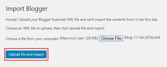 Click on upload file and import
