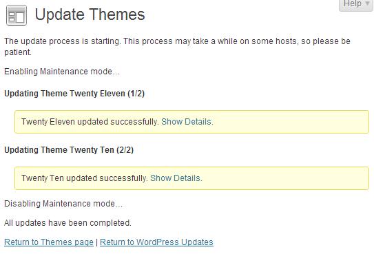 wordpress admin themes updated successfully