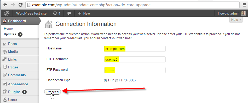 wordpress admin fill out ftp info click proceed