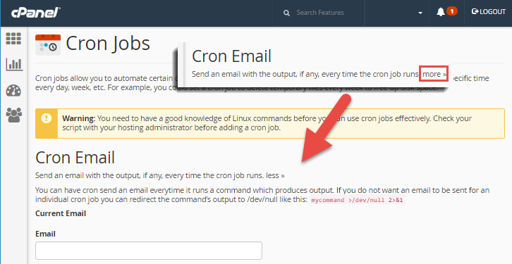 cron notification email setting