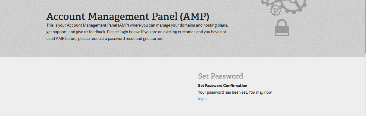 Click on LOGIN link to login to AMP for the first time
