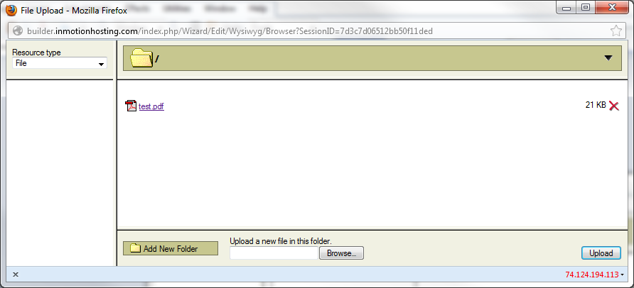 click file name to upload
