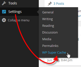 Setting WP Super Cache