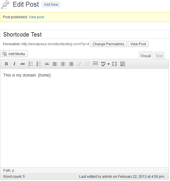 shortcode in the editor