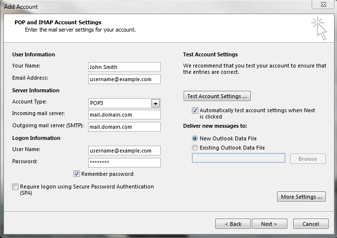 Entering Email credentials for outlook 2013