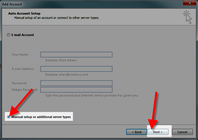 manually setting up outlook 2013