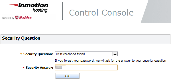setting security question for mcafee