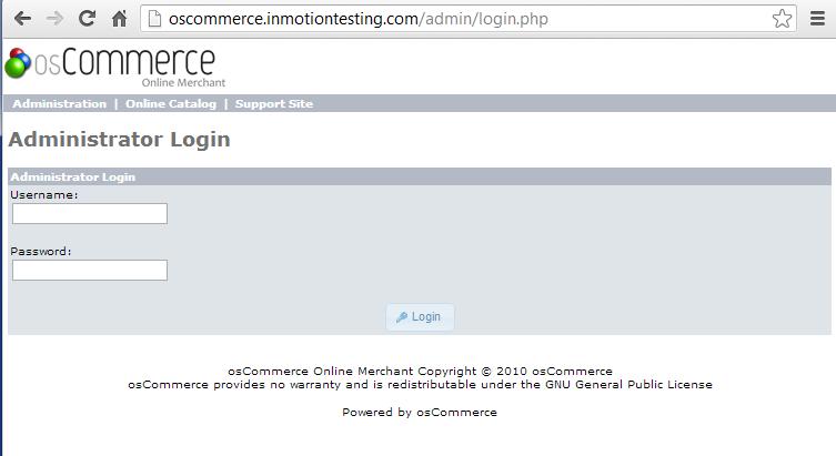 admin dashboard login screen