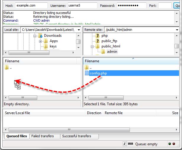filezilla drag file to local folder