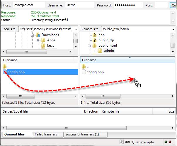 filezilla drag file to remote server