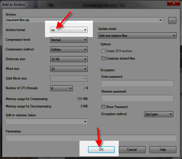 compressing a folder into a zip file in 7-zip