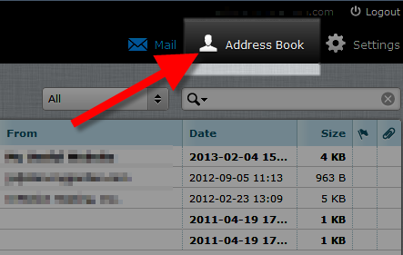 select address book menu option