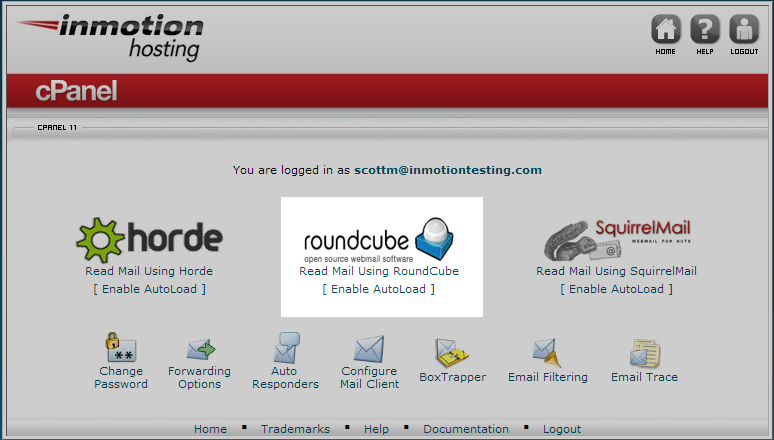 email client selection screen