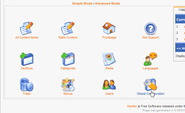 Click global configuration Mambo