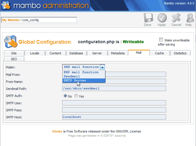 Select SMTP server from the list Mambo