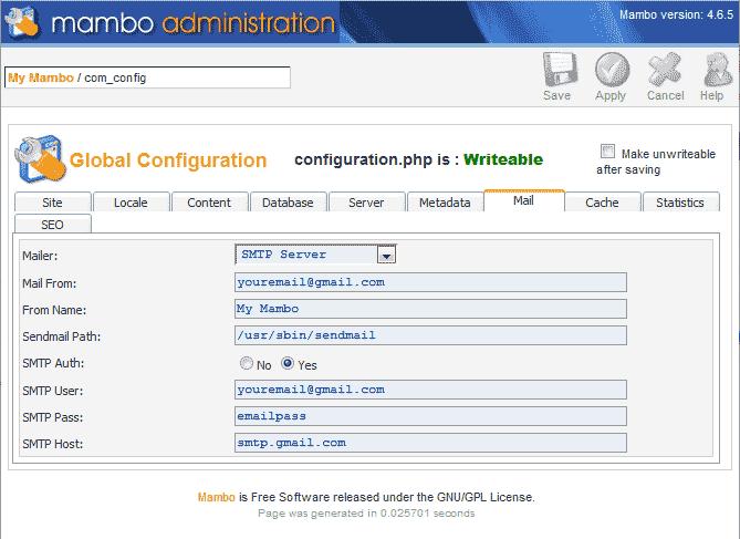 Enter the SMTP server settigns Mambo.