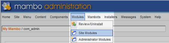 select site module from menu