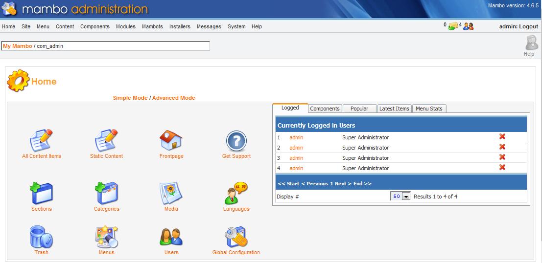 main admin interrface screen
