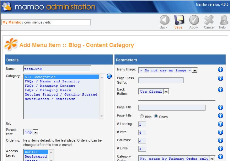 edit menu item parameters